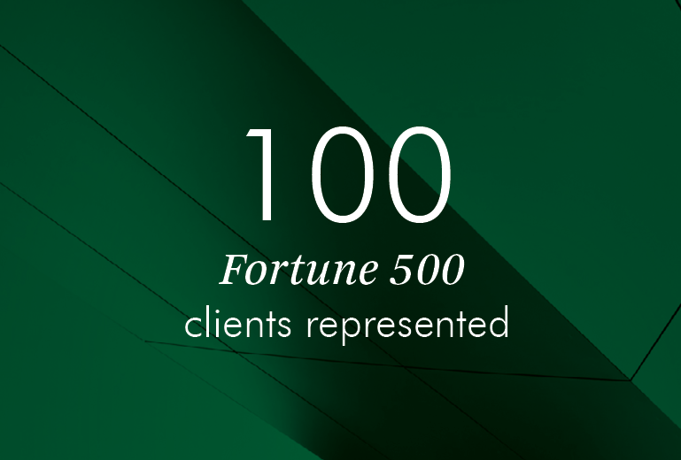 100 Fortune 500 clients represented